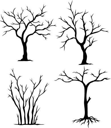 leafless: four tree silhouette for you design