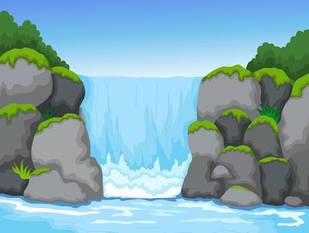piękny widok wodospadu z rzeki krajobrazu tła