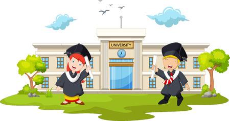 divertido dos estudiante de graduado de la universidad