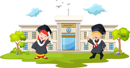 graduated: funny two student of graduated from university