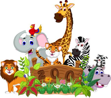 nutria caricatura: animales divertidos con el fondo del paisaje zoológico Vectores