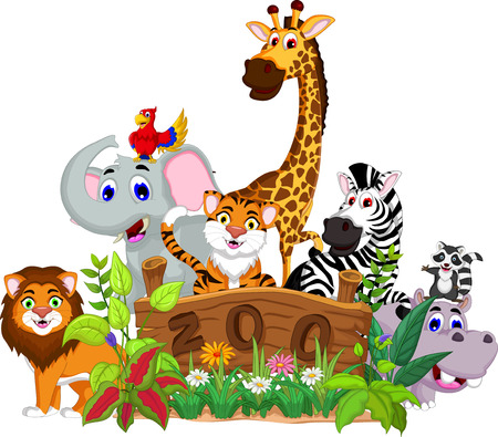 jungle scene: funny animals with zoo landscape background