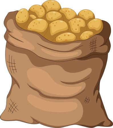 grocer: collection potato cartoon on the sack Illustration