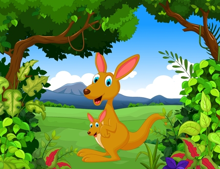 omnivore: funny kangaroo cartoon with forest landscape background Illustration