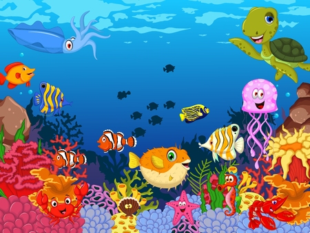 creature: funny fish cartoon with sea life background