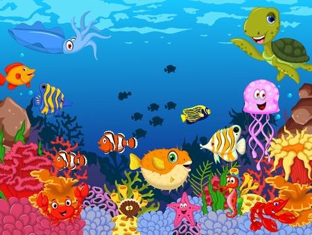 sea creature: funny fish cartoon with sea life background