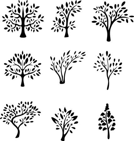 colletion di albero silhouette Vettoriali
