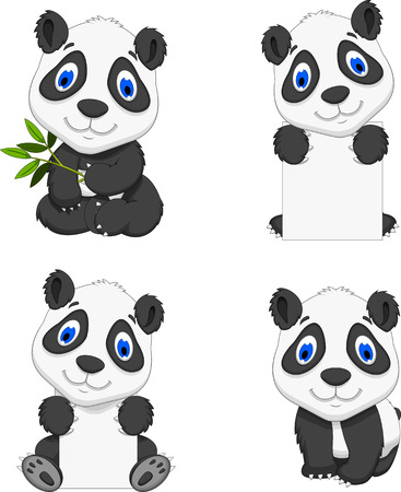 pic  picture: cute four panda cartoon with forest landscape background