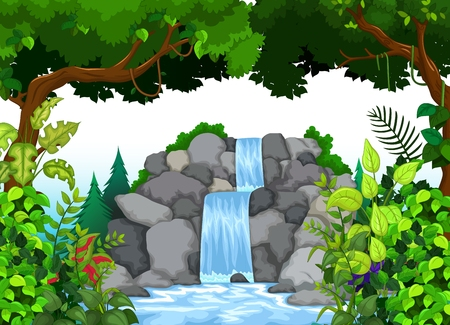beutiful waterfall with landscape background