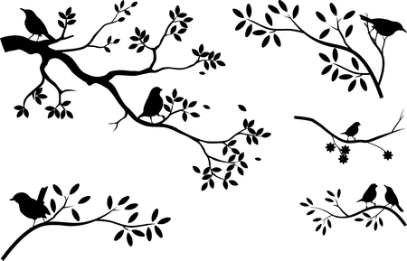 birds in tree: tree silhouette with landscape background Illustration