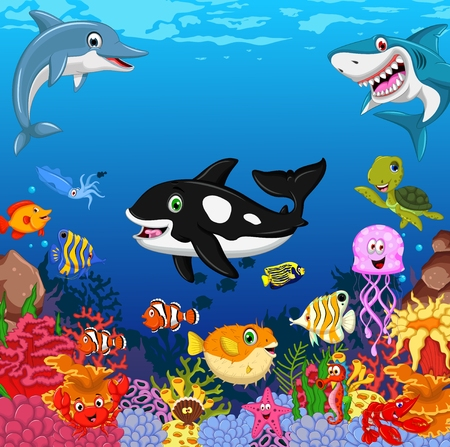 funny fish cartoon with sea life background