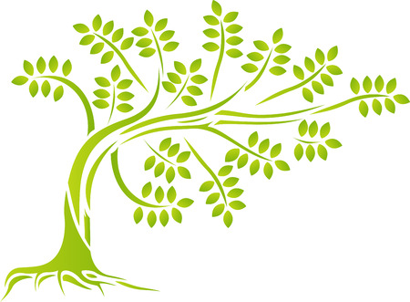 tree silhouette with forest lfe background Illustration