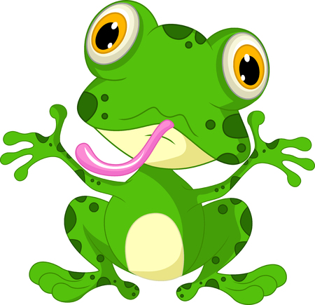 croaking: funny frog with life background Illustration