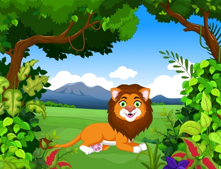 fur: cute lion cartoon with forest life background Illustration