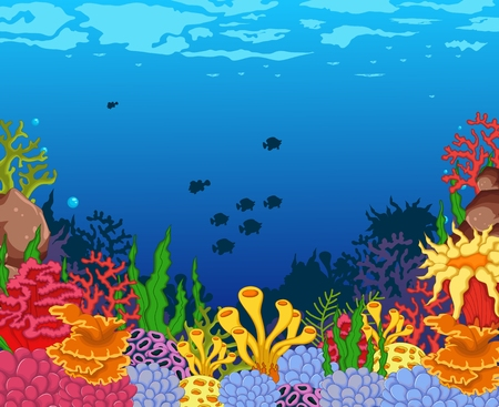 reef: beautiful sea with landcape background