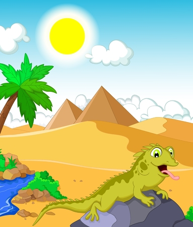 chamaeleo: funny chameleon cartoon with landscape background Illustration
