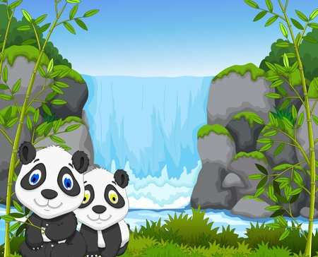 waterfall in forest: cute two panda cartoon with landscape background