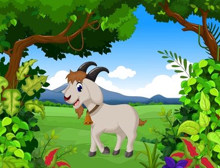 linda de la historieta de cabra con fondo de paisaje