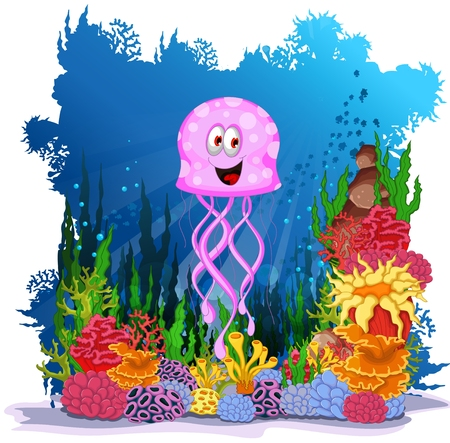 puffer fish: funny  jellyfish with sea life background