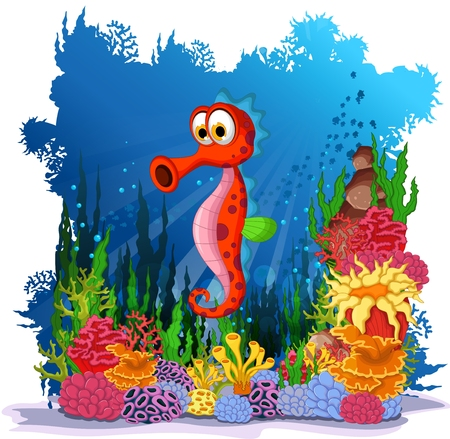sea anemone: funny  seahorses with sea life background Illustration
