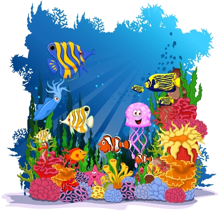 reef: funny fish with sea life background