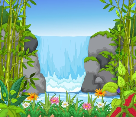 natural forces: waterfall with landscape view background
