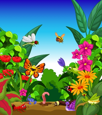 garden flower: collection of insects in the flower garden Illustration