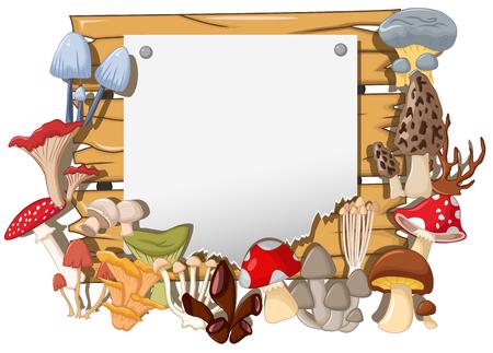 fleshy: cute mushroom landscape background Illustration