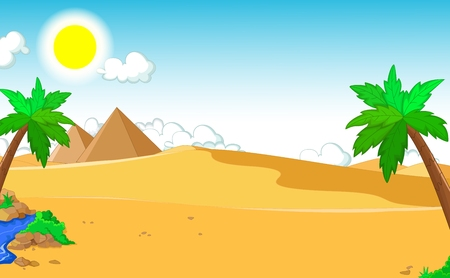 hillock: beautiful view of tree cartoon with desert landscape background