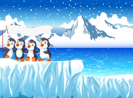 snow mountain: funny penguins with snow mountain landscape bakground Illustration