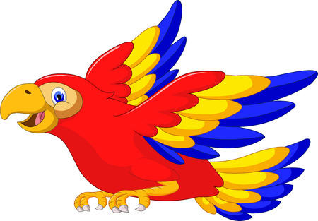 guacamaya caricatura: Vuelo del pájaro del Macaw Vectores