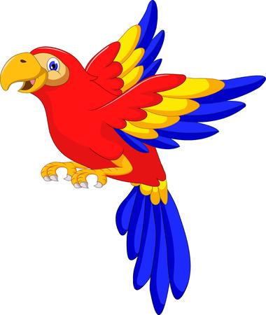 guacamaya caricatura: Guacamayo pájaro ala con la muestra en blanco Vectores