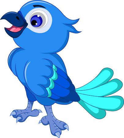 mignon posant bande dessinée d'oiseau bleu