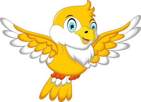 Cute Yellow bird cartoon flying Illustration