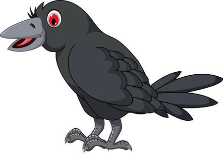 aves caricatura: posando cuervo dibujos animados Vectores