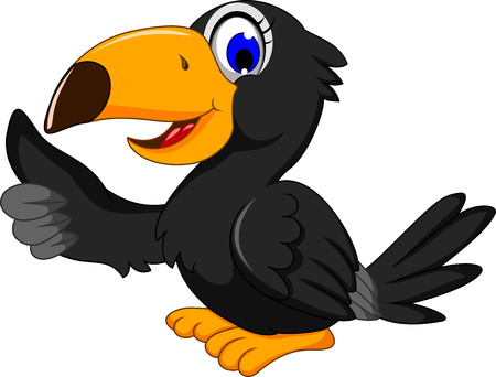 cute animal cartoon: cute black bird cartoon thumb up Illustration