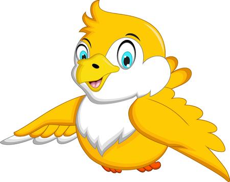 small children: Cute Yellow bird cartoon waving