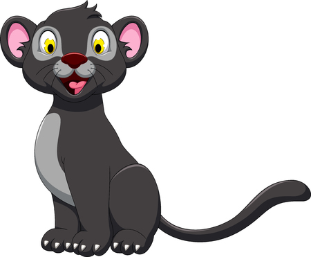 cute black panther cartoon sitting