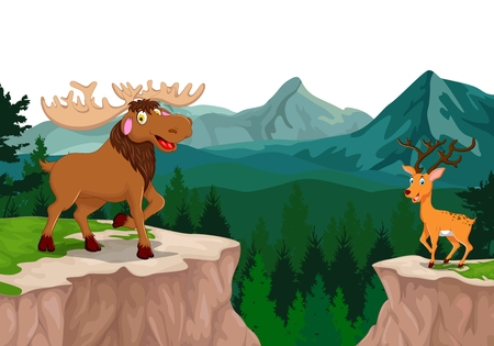 wild boar: funny wild boar and deer cartoon in the mountain cliff