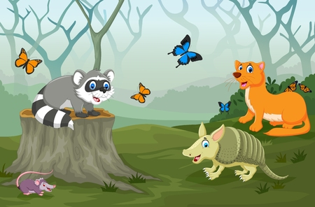 deep: funny animal with deep forest landscape background