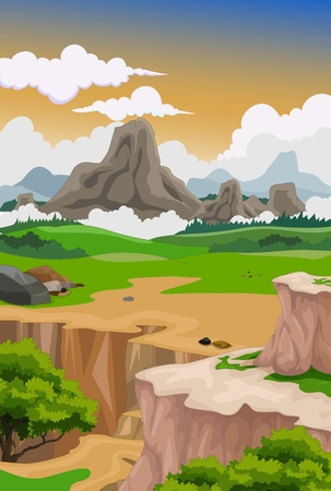 low poly: beauty mountain with landscape background
