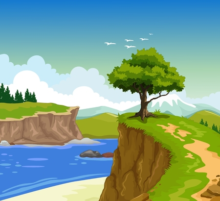 low poly: beauty mountain cliff with lake background Illustration