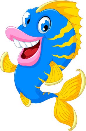 funny fish: funny fish cartoon smiling Illustration