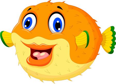 puffer fish: funny puffer fish cartoon swimming