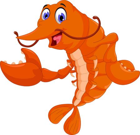raw: cute shrimp cartoon posing