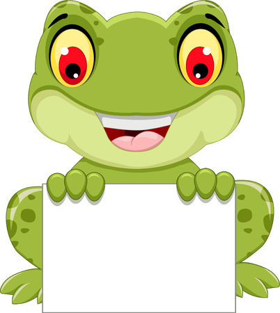 funny frog cartoon sitting holding a blank sign Фото со стока - 59242871