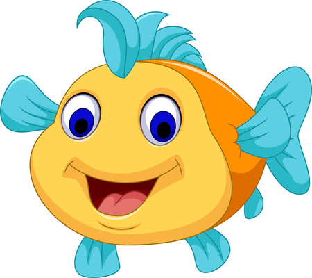 fish tail: funny fish cartoon smiling Illustration
