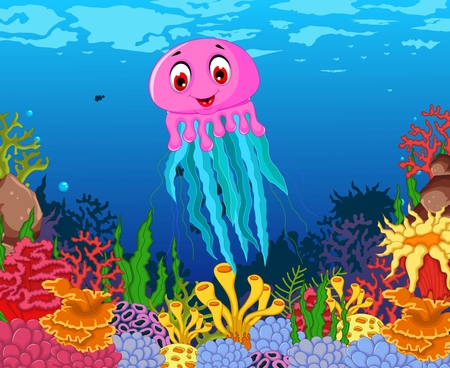 deep pink: funny jellyfish cartoon with beauty sea life background Illustration