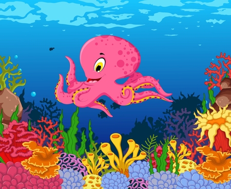 funny octopus cartoon with beauty sea life background Illustration
