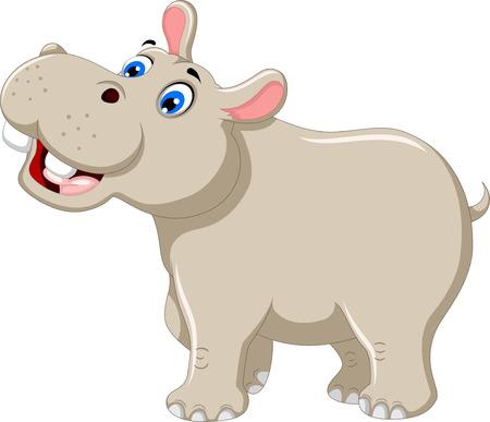 hipopotamo caricatura: sonriendo divertidos dibujos animados hipopótamo